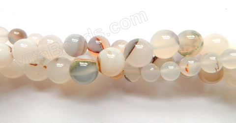 Natural White Agate w/ Black  -  Smooth Round  16""