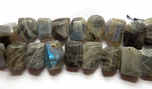"Labradorite Dark AAA -  Center Drilled Faceted Flat 16""    22 x 18  x 8 mm"