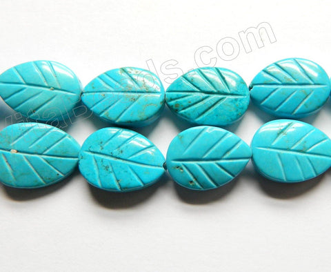 Deep Blue Crack Turquoise  -  Carved Leaves  16""