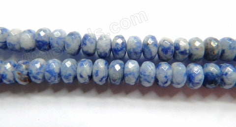 "Blue Spot Stone  -  Faceted Rondels  16""    5 x 8 mm"