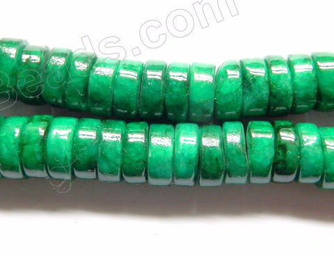 Bright Green Mashan Jade  -  Smooth Heishi Beads 16""