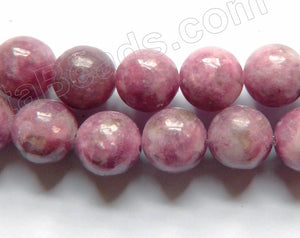 Chinese Pink Tourmaline  -  Smooth Round Beads 16""