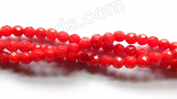 "Red Bamboo Coral  -  Small Faceted Round  16""    3mm"
