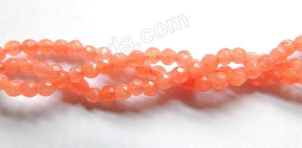 "Orange Jade  -  Small Faceted Round  15""    3mm"