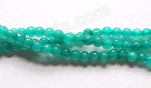 "Emerald Jade  -  Small Smooth Round  15""    3mm"