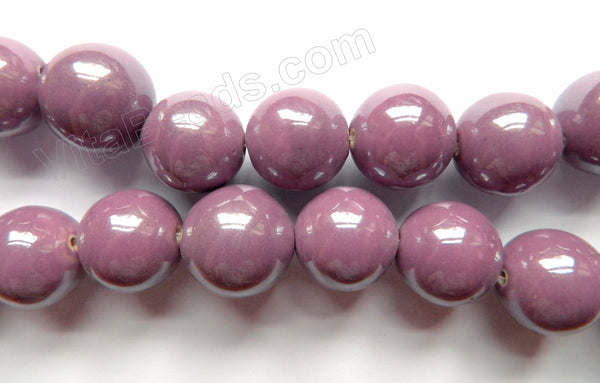 Porcelain - Plated Purple - 28mm Big Smooth Round Beads  16""