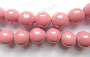 Porcelain - Plated Rosy - Big Smooth Round Beads  16""