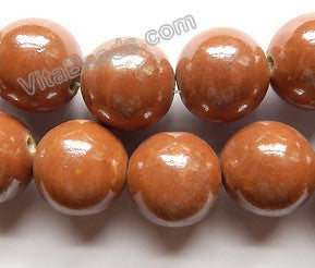Porcelain - Plated Brown - Big Smooth Round Beads  16""