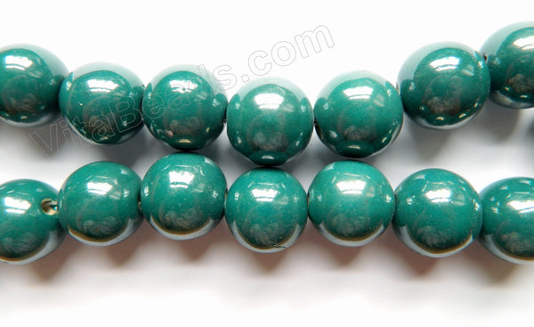 "Porcelain - Plated Emerald - Big Smooth Round Beads  16""    20 mm"