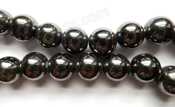 Porcelain - Plated Black - Big Smooth Round Beads  16""