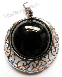 Black Onyx - Smooth Round Pendant w/ Silver Bail Setting