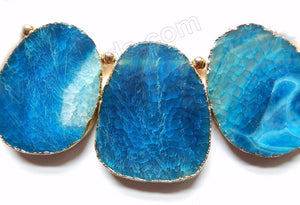 Blue Fire Agate  -  Thick Smooth Flat Briolette Slab w Gold Trim 3 pc