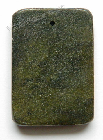 Pendant - Smooth Rectangle - Dark Green Fire New Jade