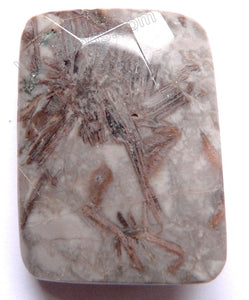 Twist Pendant - Faceted Rectangle Grey Bamboo Leaf Agate - Lavender Star