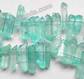 Frosted Blue Apatite Crystal Natural  -  Graduated Faceted Tooth  16""