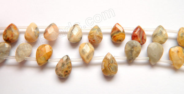 Crazy Lace Agate  -   8x12mm Faceted Flat Briolette16""