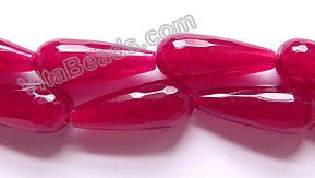 Dark Cherry Malay Jade  -  11x28mm Faceted Drop 16""