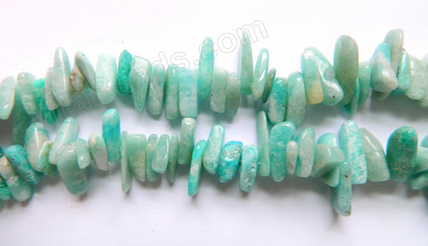 "Light Russian Amazonite  -  Smooth Sticks 15""     15 - 25 mm"