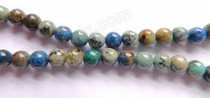 Light Chrysacolla Natural AAA  -  Smooth Round Beads  16""