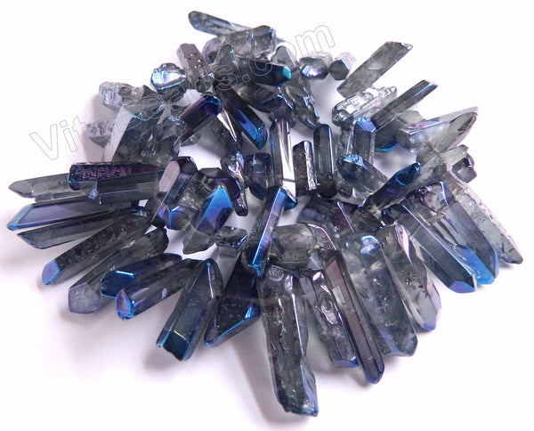 "Metallic Blue Peacock Crystal Natural  -  Graduated Faceted Tooth  16""   18 - 28 mm"