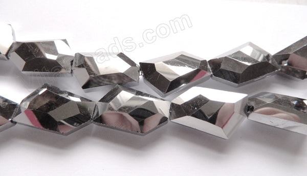 Silvery Crystal Qtz  -  Irregular Faceted Flat  11""