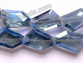 Mystic London Blue Coated Crystal Qtz  -  Irregular Faceted Flat  11""