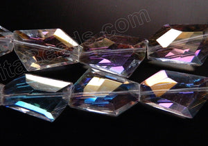 AB Coated Crystal Qtz  -  Irregular Faceted Flat  11""