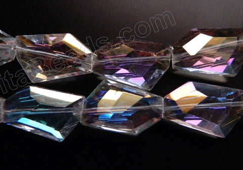 Mystic AB Coated Crystal Qtz  -  Irregular Faceted Flat  11""