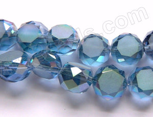 Frosted Mystic London Blue Crystal  -  Faceted Coin 11""