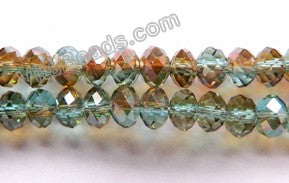 "AB Coated Dark Green Brown Qtz  -  Small Faceted Rondel  18""     4 x 3 mm"