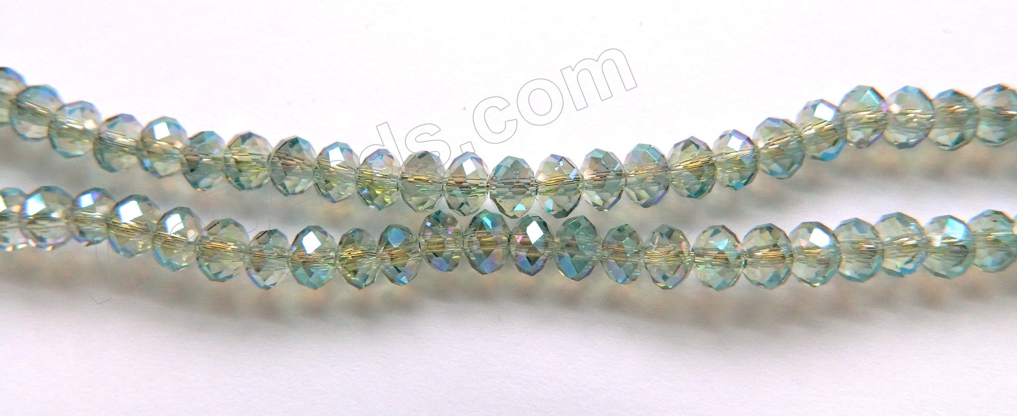 "AB Coated Light Green Peacock Crystal  -  Small Faceted Rondel  18""     4 x 3 mm"