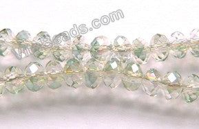 "AB Coated Pale Green Crystal  -  Small Faceted Rondel  18""     4 x 3 mm"