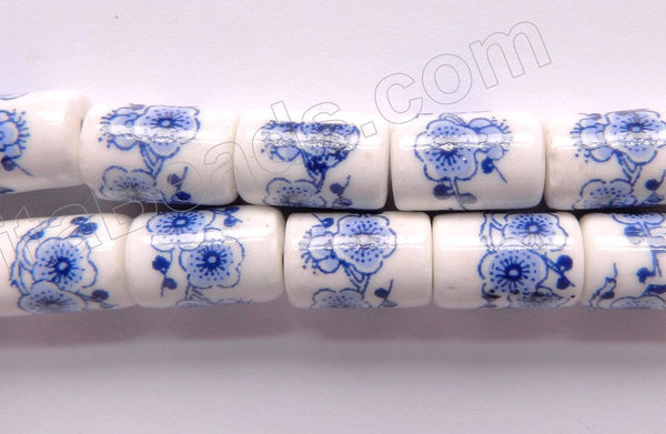 "Porcelain Beads - Blue &. White   8 x 13 mm ""Cherry Blossom"" Round Tube, Cylinder"
