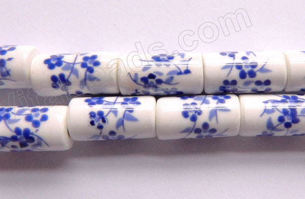 "Porcelain Beads - Blue &. White   9 x 18 mm ""Flower"" Round Tube, Cylinder"