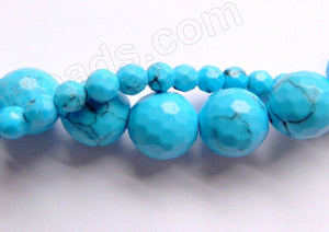 Deep Blue Turquoise w/ Black Matrix AA  -  Faceted Round  15""