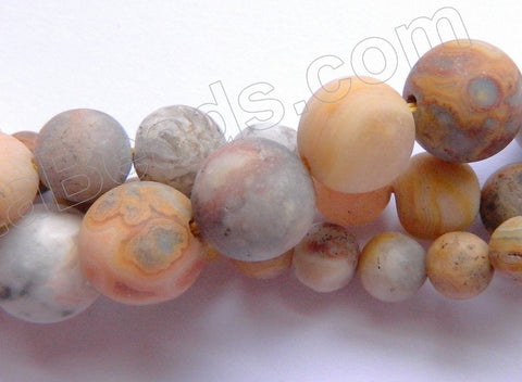 Frosted Crazy Lace Agate  -  Smooth Round Beads 16""