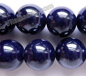 Porcelain -  Plated Dark Blue -   Big Smooth Round Beads  16""