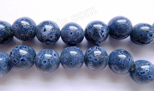 "Porcelain Beads - Blue Grey - Irregular Smooth Round  15""    20 mm"
