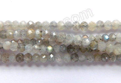 Labradorite Light A  -  Small Faceted Rondels, Faceted Button  16""