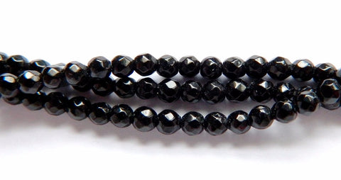 Black Onyx  -  Small Faceted Round  16""