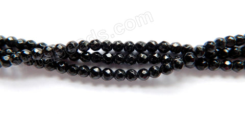 "Black Onyx  -  Small Faceted Round  16""    3mm"