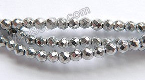 "Silvery Hematite  -  Small Faceted Round 15""    3mm"