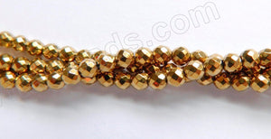 "Gold Hematite  -  Small Faceted Round 15""    3mm"