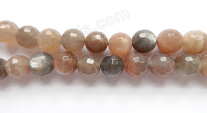 Dark Grey Red Mixed Moonstone  -  Faceted Round 15""