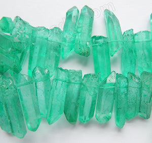 Green Apatite Crystal Natural AAA -  Graduated Faceted Tooth  16""