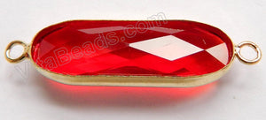 Red Crystal  -  Gold Trim Connector