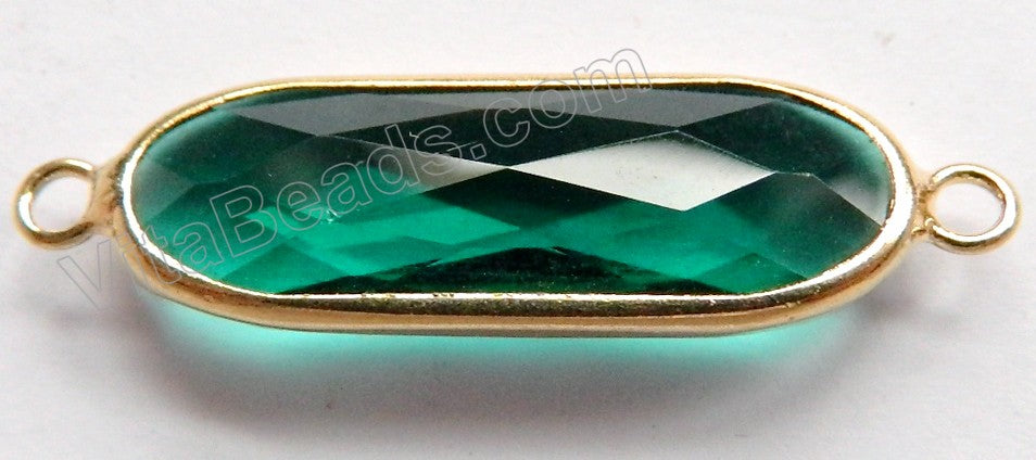Emerald Crystal  -  Gold Trim Connector