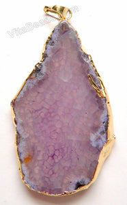 Purple Fire Agate - 04   Free Form Slab Pendant w/ Gold Trim & Bail