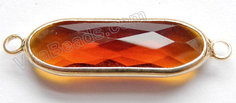 Amber Crystal  -  Gold Trim Connector