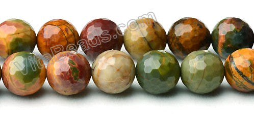 Fire Impression Jasper  -  Faceted Round Beads  16""